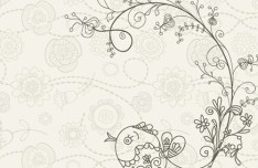 Vintage Hand Drawn Bird and Floral Illustration Vector 03