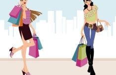 City Shopping Girls Vector Illustraction