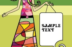Colorful Girl With Text Frame Vector 01