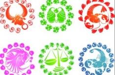Colorful Zodiac Symbols Vector