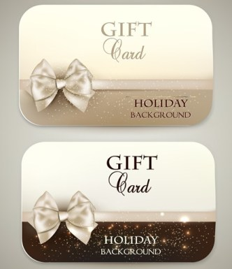 Noble Golden Cards with Ribbon Bow and Halos Ornaments Vector 01