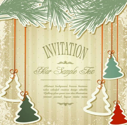Free Vintage Merry Christmas Invitation Card Ornaments