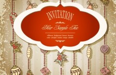 Vintage Merry Christmas Invitation Card Ornaments Vector 04