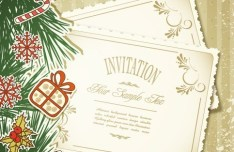 Vintage Merry Christmas Invitation Card Ornaments Vector 05