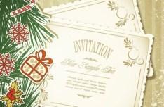 Vintage Merry Christmas Invitation Card Ornaments Vector 05