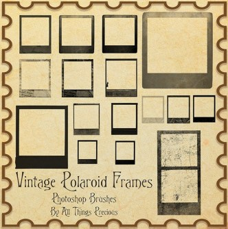 Vintage Polaroid Frames Photoshop Brushes