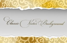 Classic Paper Torn Floral Background Vector 01