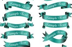 Set Of Vector Green Web Ribbons