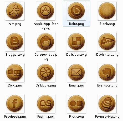 Brown Baked Social Media Icons Set