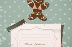 Cartoon Merry Christmas Sticker with Vintage Dots Background Vector 01