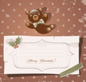Cartoon Merry Christmas Sticker with Vintage Dots Background Vector 03