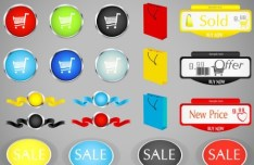 Set Of Vector Retail Store Stickers and Buttons 01