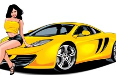 Beautiful Babe with Yellow Car Vector Illustration 03