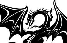 Black China Dragon Paper Cut Pattern Vector 03