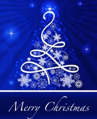Blue Christmas Illustration For Merry Christmas Card Vector 02