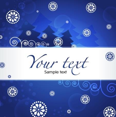 Blue Christmas Illustration For Merry Christmas Card Vector 03