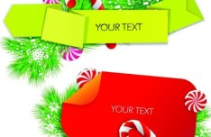 Colored Ribbon Label with Christmas Ornaments Vector 01