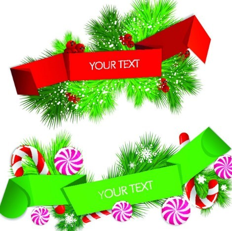 Colored Ribbon Label with Christmas Ornaments Vector 04