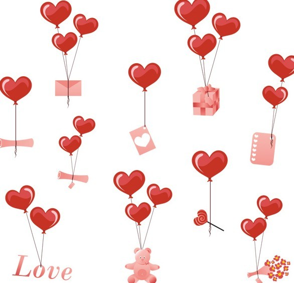 Love Heart Balloons With Gifts Vector