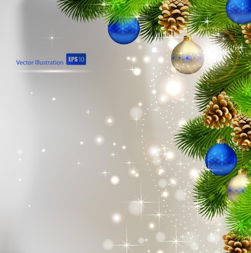 Vector Bright Background with Christmas Ball and Tree Ornaments 01