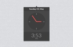 Dark Flat Clock Widget PSD