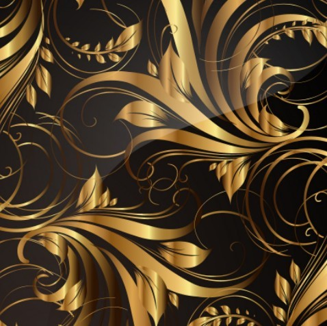 Gorgeous Golden Floral Pattern Vector 03