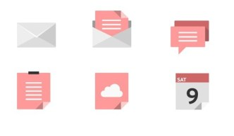 Red and Grey Flat Styled Icons Vector