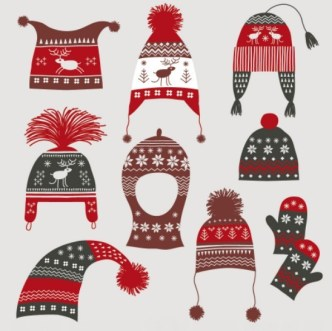 Set Of Vector Vintage Winter Hats and Gloves