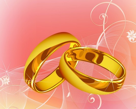 Vector Gold Rings and Floral Background 01
