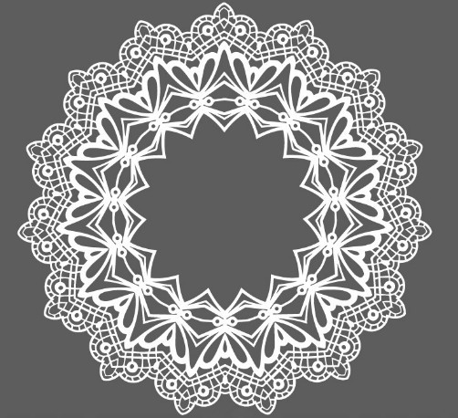 White Lace Pattern Ornament Vector