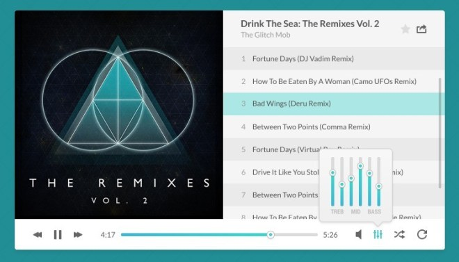 Flat Music Player with Play List PSD