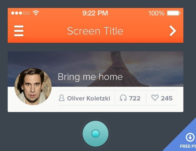Flat iOS 7 Styled Mobile UI PSD