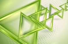 Glossy Green Triangles Background Vector