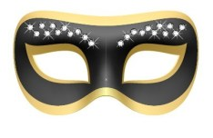 Golden and Dark Mask With Diamond Ornaments Vector