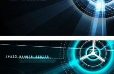 Set Of Dark Blue Banners with Technology Circles Backgrounds