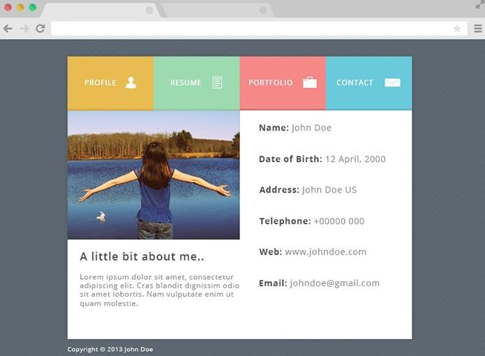 Free Flat Psd Resume Website Template Titanui