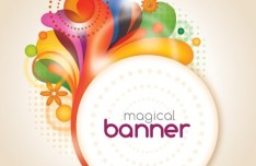 Magical Floral Banner Ornaments Vector