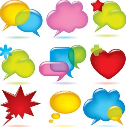 Set Of Sleek & Colored Chat Bubbles Vector