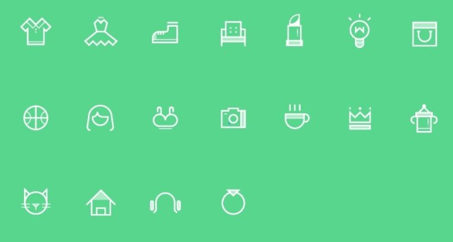 Set Of Vector White Category Icons