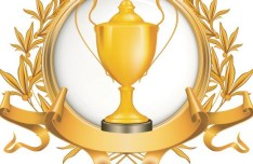 Golden Emblem with Ribbon and Trophy Cup Vector 01