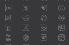Thin Line Social Media Icons Set Vector