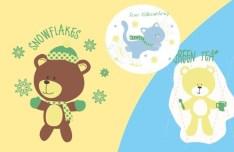 Cute Cartoon Bears Vector Illustration 02