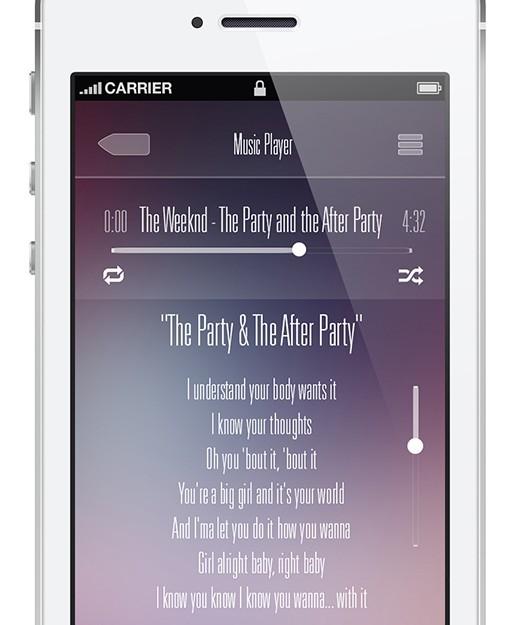 Music Player App For iOS PSD
