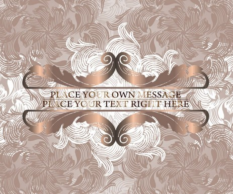Brown Vintage Label with Floral Swirls Background Vector 02