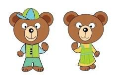 2 Cute Cartoon Bears Vector