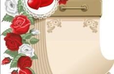 Blank Calendar with Love Flowers Ornaments Vector