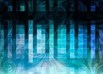 Blue HI-Tech Squares with Flourish Floral Background Vector