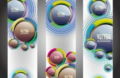 Set Of Vector Vertical Banners with 3D Balls Backgrounds