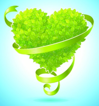 ECO Concept Heart Of Leaves Vector
