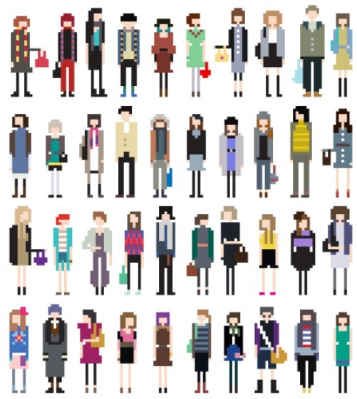 Free Vector Fashion Pixel People Collection 02